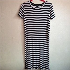 Forever 21 stripe long shirt with slits